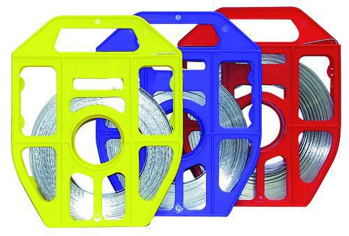 Stainless steel banding in plastic dispenser